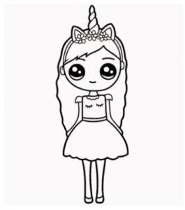 How to draw a Unicorn Girl step by step for beginners