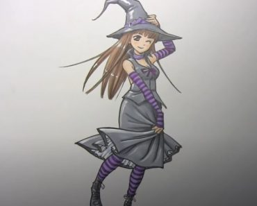 How to draw a Witch step by step - Manga girl drawing for beginners