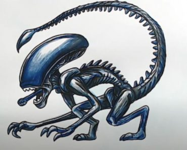 How to draw a Xenomorph step by step