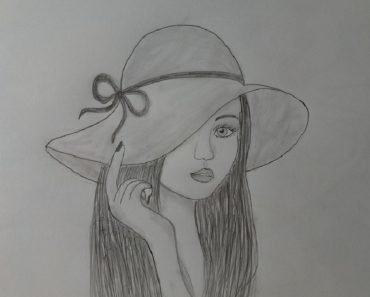 How to draw a girl wearing hat