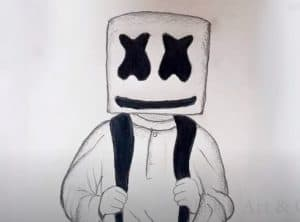 Marshmello Drawing easy for beginners