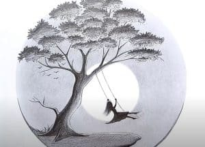 A girl swinging in a tree - Pencil Drawing - Scenery drawing easy for Beginners