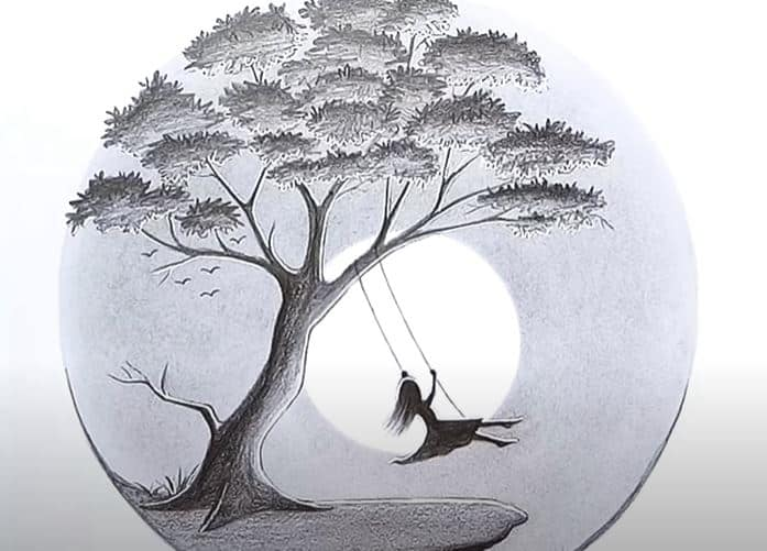 A Girl Swinging In A Tree Pencil Drawing Scenery Drawing Easy For Beginners Pencil sketches of nature of sceneries landscapes of. scenery drawing easy for beginners
