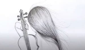 Girl with violin Drawing by Pencil for beginners