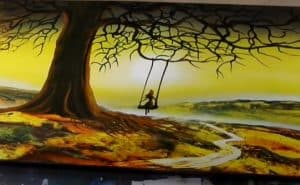 Happy Little girl and scenery spray paint art