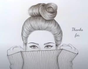 Hidden Girl face drawing for beginners