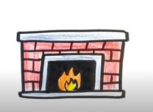 How to Draw a Fireplace Step by step
