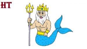 How to draw a cartoon Poseidon
