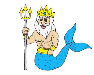 How to draw a cartoon Poseidon