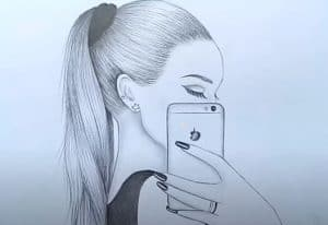How to draw a girl taking a selfie with Pencil