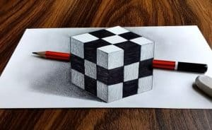 3D Rubik's cube Drawing step by step - 3D drawing tutorial for beginners