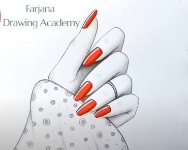 A Beautiful Girl Hand with nail-polish Drawing - Pencil Drawing Tutorial