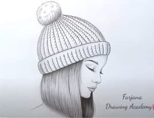 A girl wearing a winter hat Drawing with Pencil
