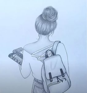 A girl with School Bag drawing with pencil