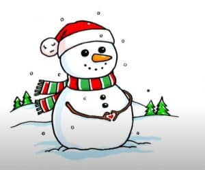 Cute Snowman Drawing step by step Easy for Beginners