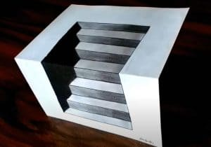 How to Draw 3D Stairs step by step - 3D drawing easy for Beginners
