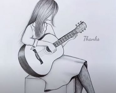 How to draw A Girl with Guitar with pencil for Beginners