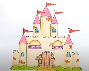 How to draw a Castle Step By Step for Beginners