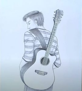 How to draw a boy with guitar step by step