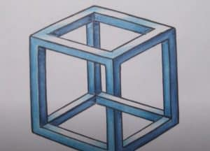 How to draw an impossible cube step by step