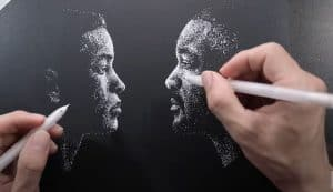Amazing - Gemini Man Drawing with two hands