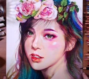 Beautiful Girl Drawing with Colored pencil