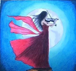 Girl playing violin Drawing - Oil pastel drawing