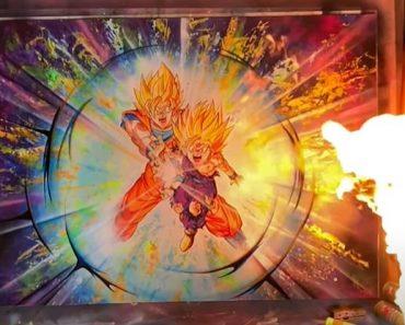 Gohan and Goku Spray painting