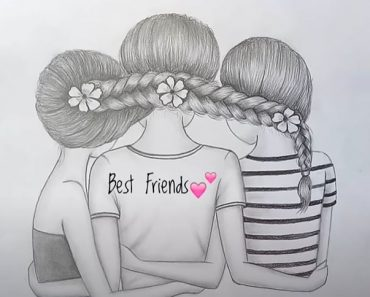 How To Draw Three Best Friends Hugging Each other with Pencil - Pencil Sketch