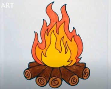 How to Draw a Campfire Step By Step