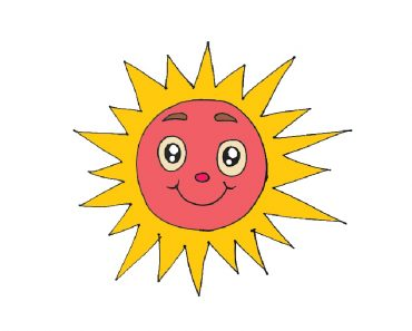 How to draw a cartoon sun cute and easy