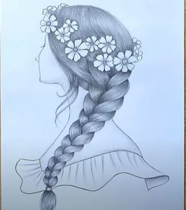 How to draw a girl with beautiful hairstyle with Pencil