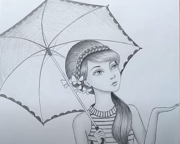 How to draw a girl with umbrella by Pencil
