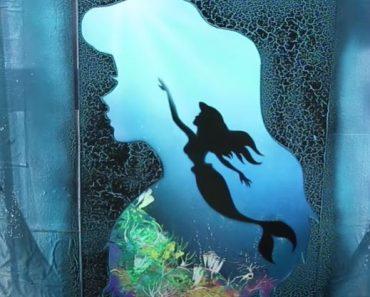 Ariel little Mermaid GLOW IN DARK Painting - SPRAY PAINT ART