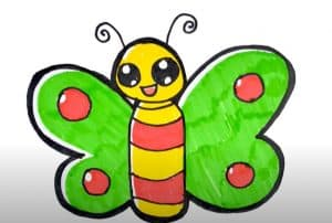 Butterfly Drawing for Kids - How to draw a Butterfly Easy