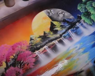 Day and Night Scenery painting - SPRAY PAINT