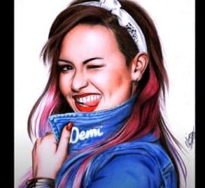 Drawing Demi Lovato with Pencil - Beautiful Female Singer Drawing
