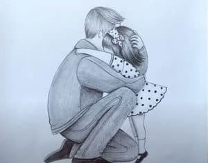 Father and Daughter heart touching drawing - How to draw father and daughter