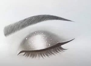 Glitter Closed Eye Drawing for Beginners - How to draw a Eye Step by Step
