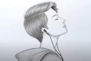 How to Draw a Boy with earphones with Pencil Easy