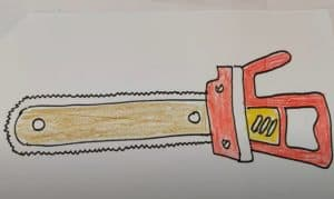 How to Draw a Chainsaw Step by step