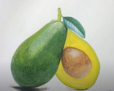 How to Draw an Avocado with pencil Step by Step - Fruit Drawings for Beginners