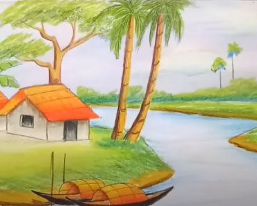 How to draw a easy scenery of village - Landscape Drawing