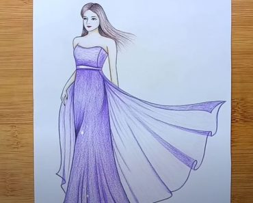 How to draw a girl with beautiful dress Step by Step
