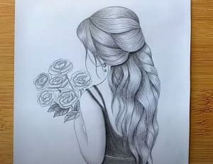 How to draw a girl with flowers Easy - Beautiful Girl Pencil Sketch