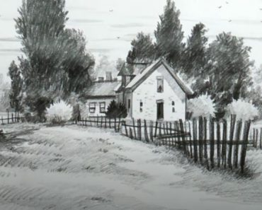 Nature scenery drawing for beginners - House Drawing with Pencil