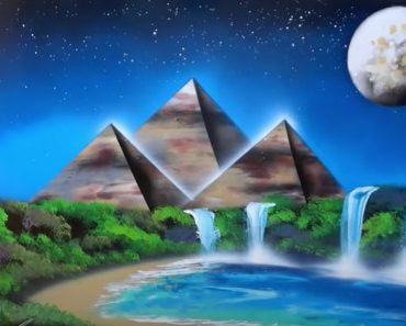 Oasis in the desert night SPRAY PAINT ART