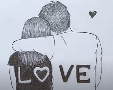 Valentine Couple Drawing by Pencil - How to draw Romantic Couple