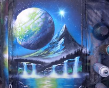 Valley under the Moon Painting - SPRAY PAINT ART
