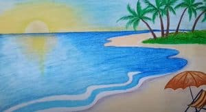 Beach Scenery Drawing Step by Step - How to draw Beach Scenery for Beginners